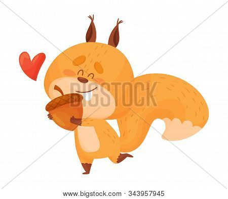 Cute Squirrel Character Running Holding Favorite Acorn with Paws Vector Illustration stock photo