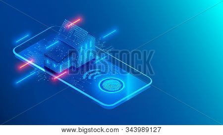 Smart home technology on screen smartphone on blue background. Internet of things conceptual isometric illustration. Digital House. Access to IOT systems using a fingerprint on a mobile phone. stock photo