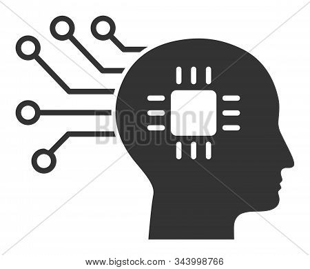 Brain circuit vector icon. Flat Brain circuit pictogram is isolated on a white background. stock photo