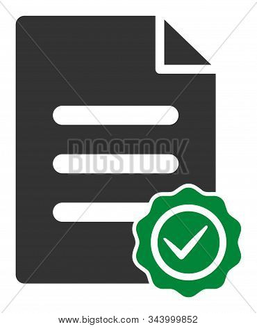 Confirmation document vector icon. Flat Confirmation document symbol is isolated on a white background. stock photo