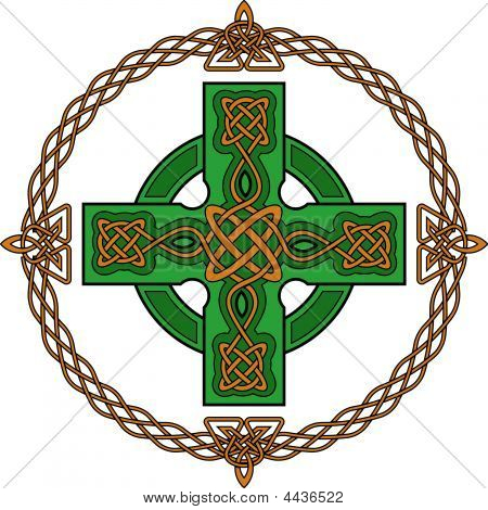 Green celtic cross and ancient gothic ornament stock photo