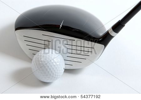 Set of golf clubs on white background stock photo
