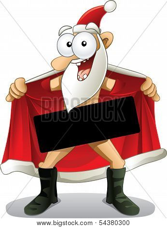 Crazy vector of a flasher Santa. The censor box is great for high visibility text. File type: vector EPS AI8 compatible. stock photo