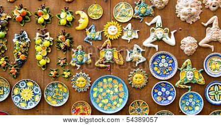 Trinacria, plates and pottery typical of the Sicilian tradition stock photo