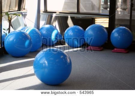 balls at the gym stock photo