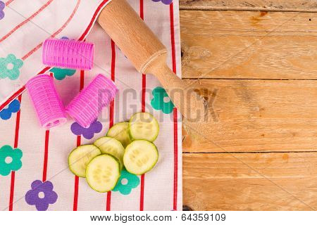 Sexistic still life including objects related to a housewife stock photo