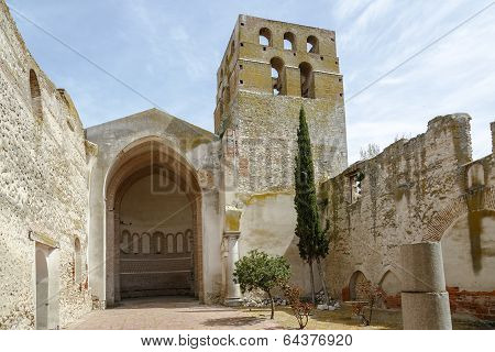 Church of San Andres Olmedo very dilapidated state Valladolid Spain stock photo