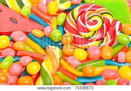 Bright sweets lollipops dragee candies and jelly sweets stock photo