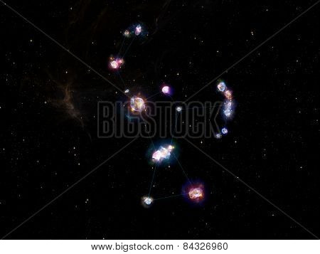 Star Glow series. Composition of fractal elements constellation lines and lights to serve as a supporting backdrop for projects on Universe cosmos astronomy astrology and education stock photo