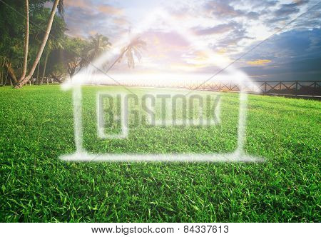 dream house on beautiful land scape use for real estate land development and future family home stock photo