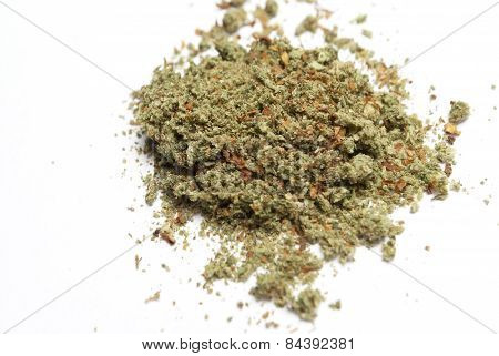 Medical marijuana and Cannabis on a white background stock photo