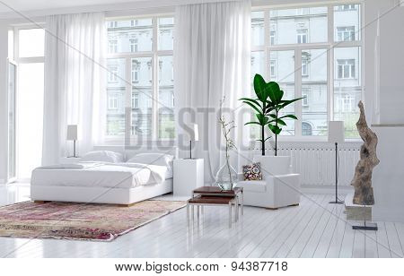 Modern monochromatic bedroom interior in an apartment with large view windows and a double bed along