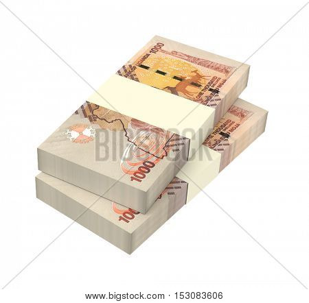 Ugandan shillings bills isolated on white background. 3D illustration. stock photo