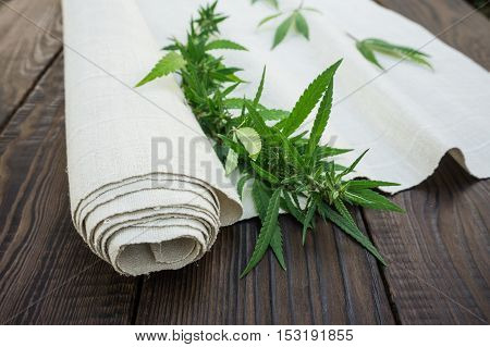 Leaves of cannabis and hemp cloth rollon the dark wooden surface. Hemp products. Agricultural technical culture stock photo