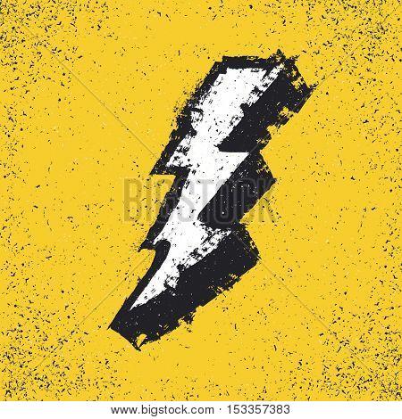 Lightning bolt grunge icon. Thunderbolt vector illustration. Levin grunge symbol. Grunge design element stock photo
