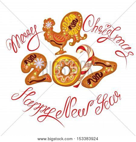 Hand written calligraphic text Merry Christmas and Happy New Year 2017 isolated on white background. Year number as cookies. Winter holidays design. Stylized rooster from Chinese calendar. stock photo