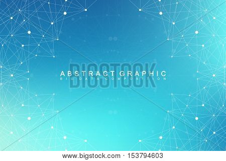 Big data complex. Graphic abstract background communication. Perspective backdrop of depth. Minimal array with compounds lines and dots. Digital data visualization. Big data vector illustration stock photo