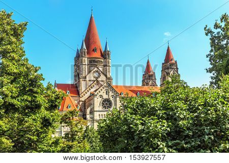 St. Francis of Assisi Church (Kirche zum heiligen Franz von Assisi) is a Basilica-style Catholic church in Vienna Austria. Built between 1898 and 1910. Austria. stock photo
