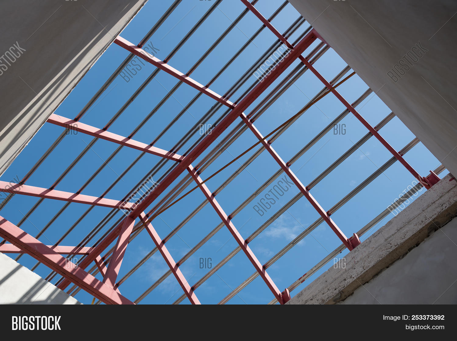 Up View Of Structural Steel Beam On Roof Of Building
