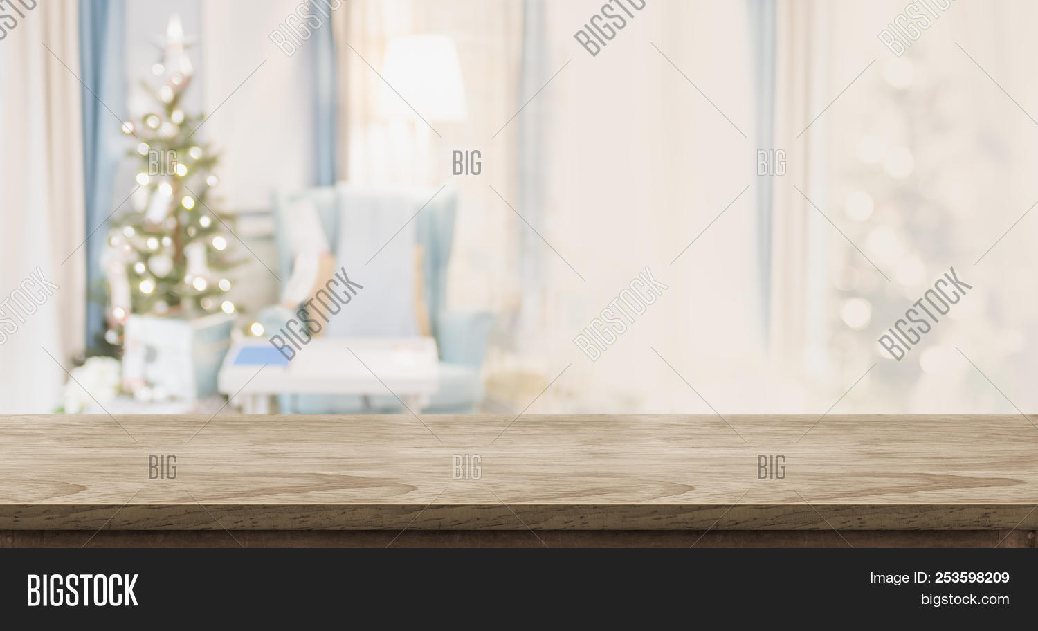 Empty Wood Table Top With Abstract Warm Living Room Decor With Christmas Tree Blur Background With B