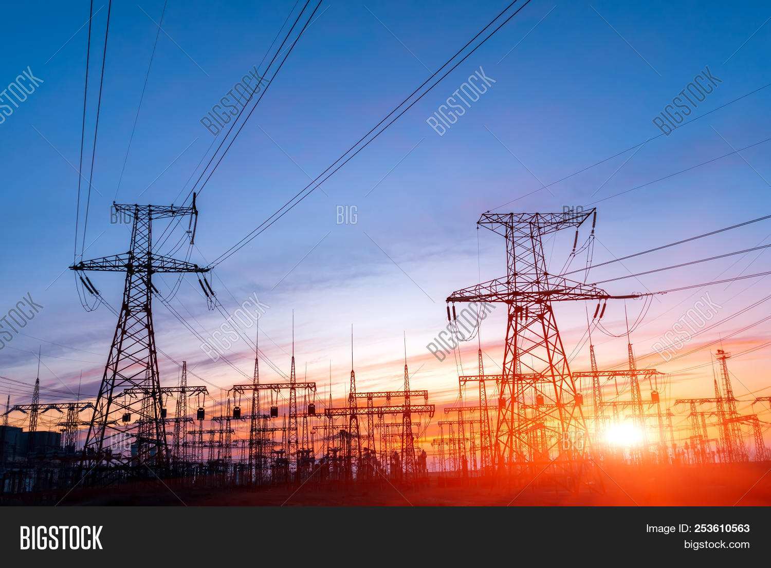 blue,cable,distribution,electric,electrical,electricity,energy,engineering,environment,grid,high,industrial,industry,line,metal,plant,pollution,power,pylon,sky,station,steel,structure,sunset,supply,technology,tower,transmission,voltage,wire
