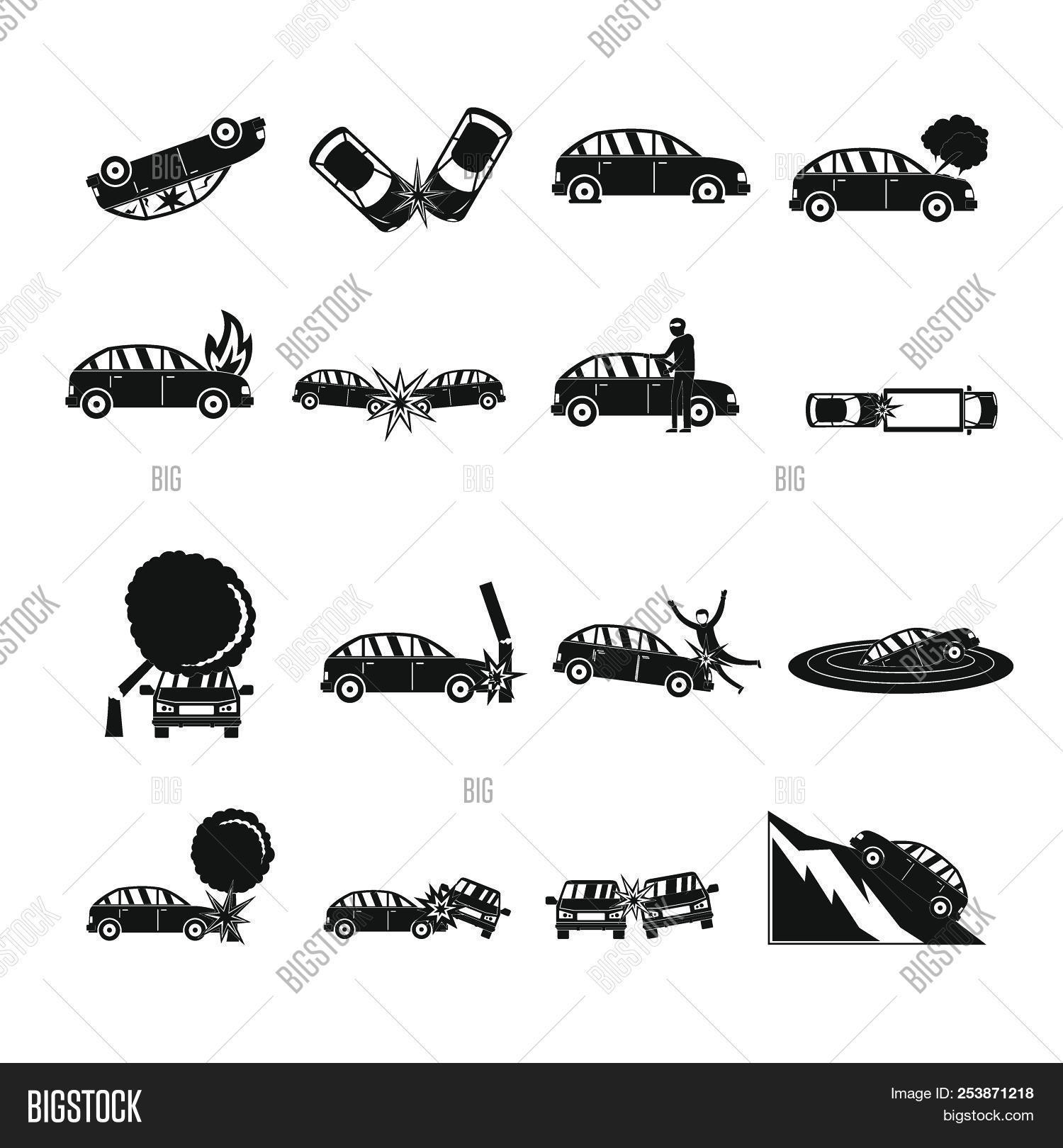 Accident Car Crash Case Icons Set Simple Illustration Of 16