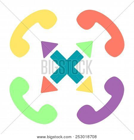 Vector colorful handset flat illustration with cross sign and arrows. Multi-channel phone customer service icon. stock photo