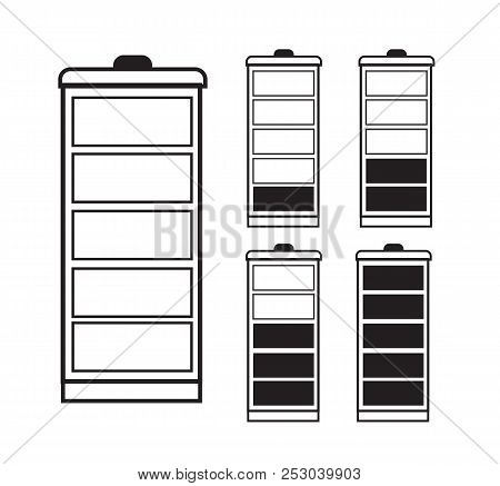 Battery Indicator Icon Set isolated isolated on a transparent background. black and white single line drawing. Battery icon set .Set of battery charge level indicators. Vector icon. stock photo