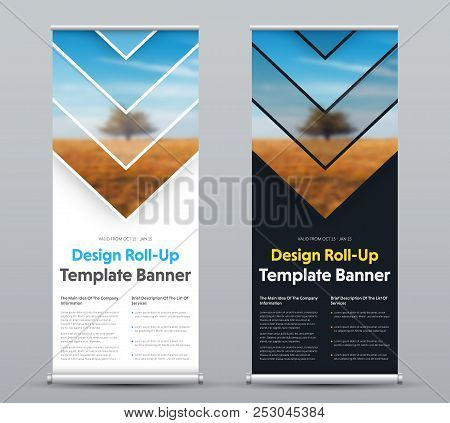 Vector design of roll-up banner with arrows and place for photo. Templates of black and white for business, advertising and printing. Set stock photo