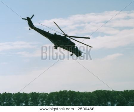 Side view attacking helicopter Mi-24 Hind Czech army stock photo