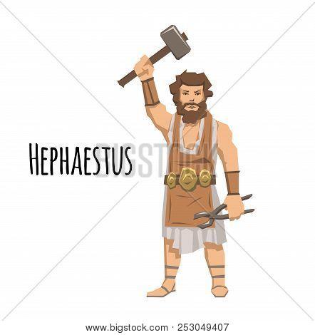 Hephaestus, ancient Greek god of blacksmith and fire. Mythology. Flat vector illustration. Isolated on white background. stock photo