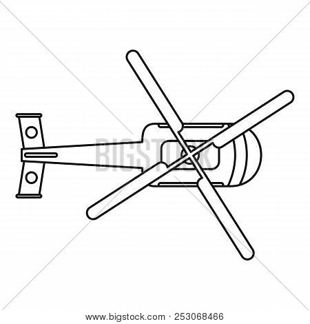Top view helicopter icon. Outline top view helicopter icon for web design isolated on white background stock photo