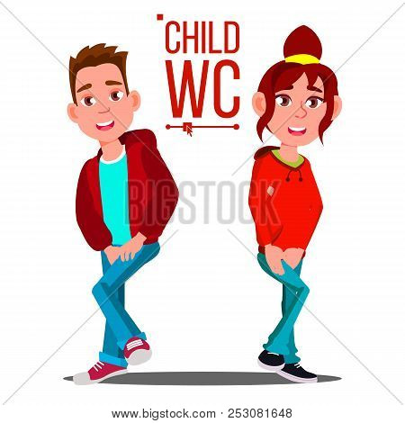 Child WC Sign Vector. Boy And Girl. Toilet Icon. Isolated Cartoon Illustration stock photo