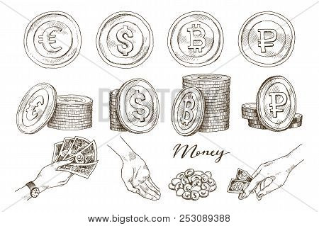 A set of icons of coins on the isolated white background. Bank notes dollar, Bank notes euro, ruble, bitcoin. Symbols of currencies in hand drawn sketch style. Vector illustration. Business, economy concept. stock photo