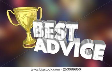 Best Advice Award Trophy Prize Tips Information 3d Illustration stock photo