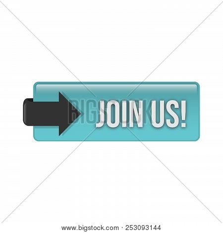 3D glossy join us action web button vector design. Web button for register. stock photo