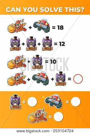 Funny Math. System of equations, a math game for kids. stock photo