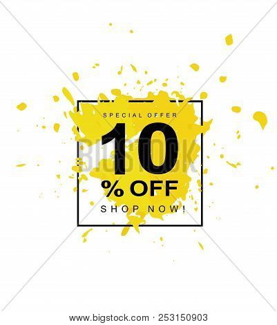 10% OFF. Discount Vector Symbol. Black Letters. Hand Drawn Paint Smudges Vector Illustration. Yellow Abstract Spash in a Black Square Frame. White Background. stock photo