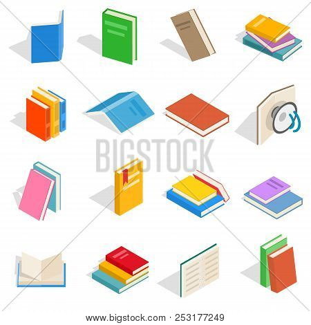 Isometric book icons set. Universal book icons to use for web and mobile UI, set of basic book elements isolated illustration stock photo