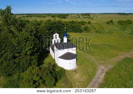View of ancient Church of St. Nicholas the Wonderworker on the Truvor settlement. Izborsk, Russia stock photo