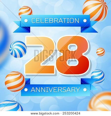 Realistic Twenty eight Years Anniversary Celebration design banner. Gold numbers and blue ribbons, balloons on blue background. Colorful Vector template elements for your birthday party stock photo