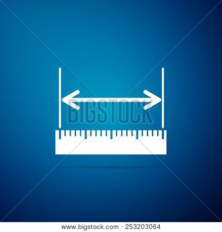 The measuring height and length icon isolated on blue background. Ruler, straightedge, scale symbol. Flat design. Vector Illustration stock photo