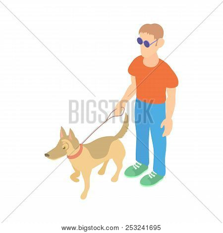 Blind man with guide dog icon in cartoon style on a white background stock photo