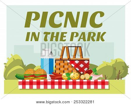 Recreation In Nature. Picnic. Picnic In The Park. Summer Picnic In The Park. The Concept Of Picnic A