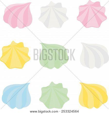 Set of different cartoon varicolored meringues. Zephyr. Dessert. Raster illustration. stock photo