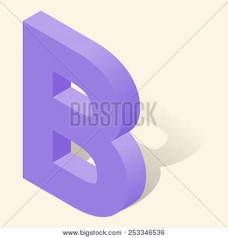 B letter in isometric 3d style with shadow. Violet B letter illustration stock photo