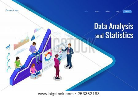Isometric web banner Data Analysis and Statistics concept. Vector illustration business analytics, Data visualization. Technology, Internet and network concept. Data and investments. stock photo