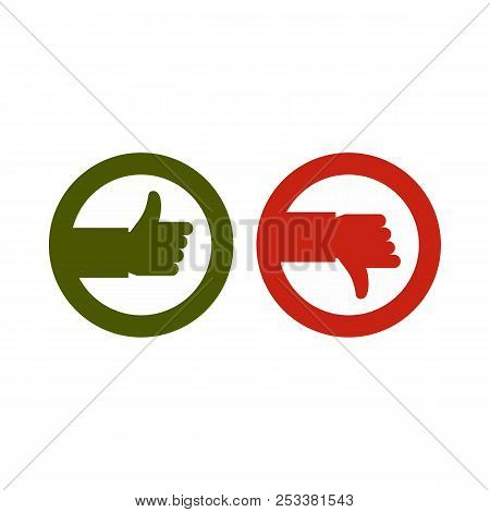 Signs hand up and down icon in flat style isolated on white background. Click and choice symbol illustration stock photo