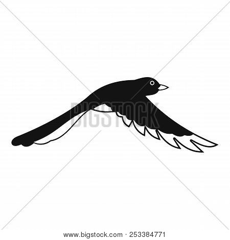 Flying magpie icon. Simple illustration of flying magpie icon for web design isolated on white background stock photo