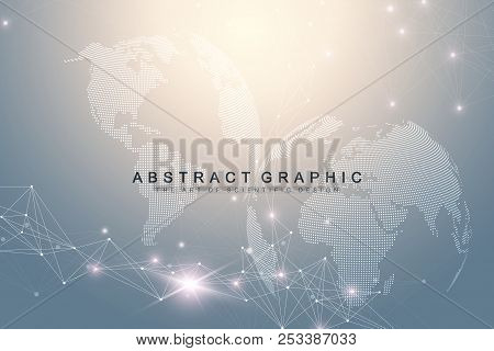 Big data complex world globe. Graphic abstract background communication. Perspective backdrop of depth. Virtual minimal array with compounds. Digital data visualization. Vector illustration Big data. stock photo